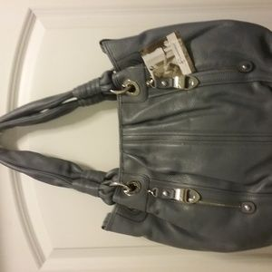 Pebble Leather Large Tote Bag w/Zipper Pockets